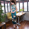 Vintage Handmade Button Chinese Women Dress Elegant Print Silk Cheongsam Summer Long Qipao Flower Plus Size