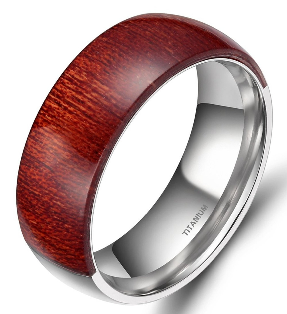 Wood Inlay Ring Men 8MM Engagement Wedding Band Mahogany Wooden Finger Rings Comfort Fit Half