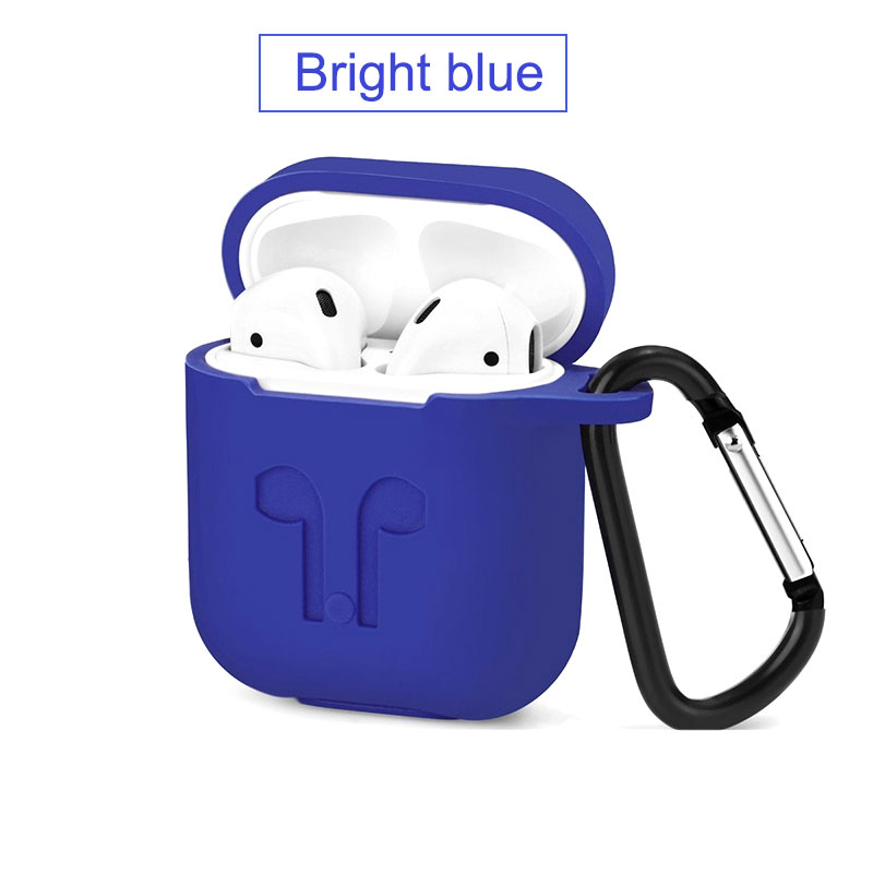 For Apple Airpods Silicone Case Soft Cover Protector with Dust Plug Anti-Lost Strap Sleeve Pouch for Air pods Earphone (2)