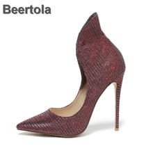 2019 Womens Pumps Shallow Spring Single Women Shoes 12Cm Fashion Pointed Toe Large Size High Heels Office Laday Shoes Cover Heel memunia 2018 sweet shoes women pumps high heels shoes low heels pointed toe fashion shallow mouth large size dress shoes