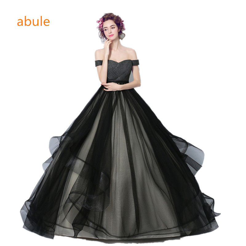 Abule 2018 Black Wedding Dress Ball Gown Sweetheart Lace Up Princess