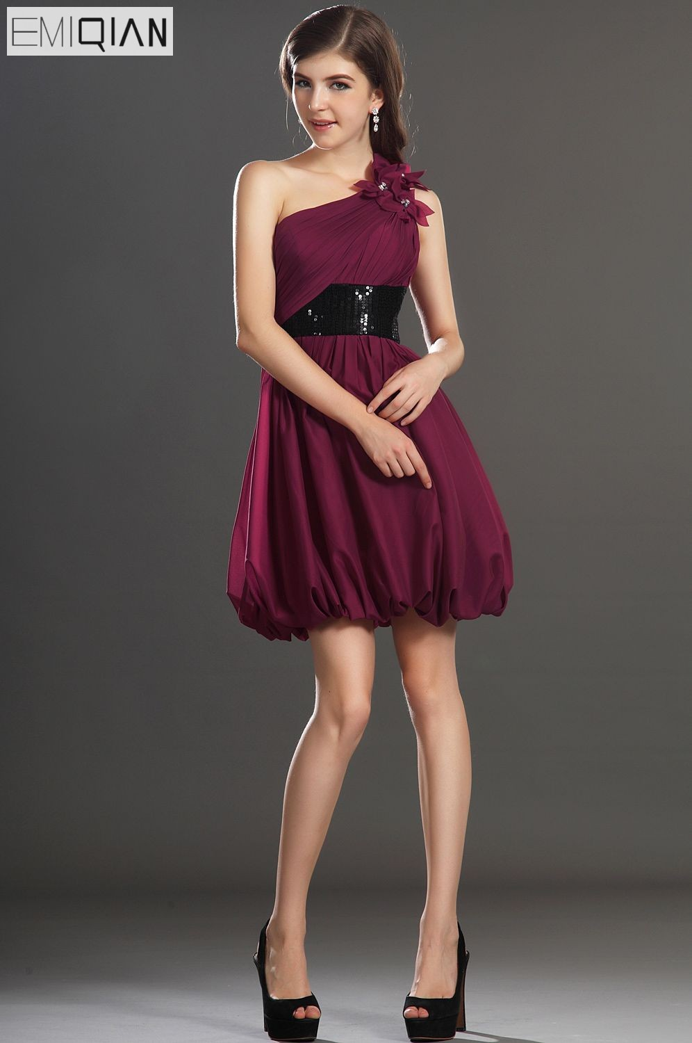 Free Shipping New Fantastic One Shoulder Flowers   Cocktail     Dress