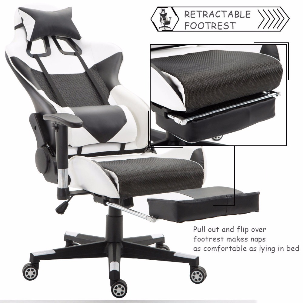 Tremendous Us 149 99 Giantex Ergonomic Adjustable Gaming Chair Modern High Back Racing Office Chair With Lumbar Support Footrest Hw56576Wh On Aliexpress Bralicious Painted Fabric Chair Ideas Braliciousco