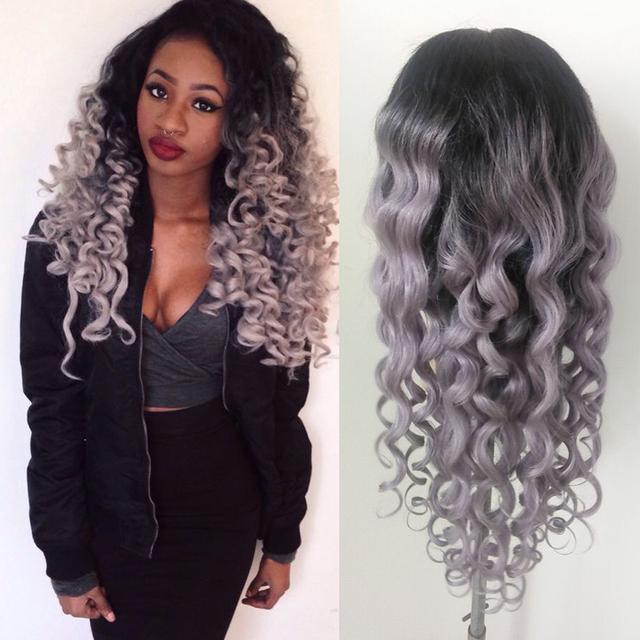 8d41ef6dd Brazilian ombre grey full lace human hair wigs wavy silver gray glueless  front lace wigs gray human hair wigs grey full lace wig