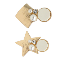 SANSUMMER Hairwear For Woman 2019 Geometric Element Hairpin Five-pointed Star Simulated-pearl Square Acrylic Duckbill Clip 6736