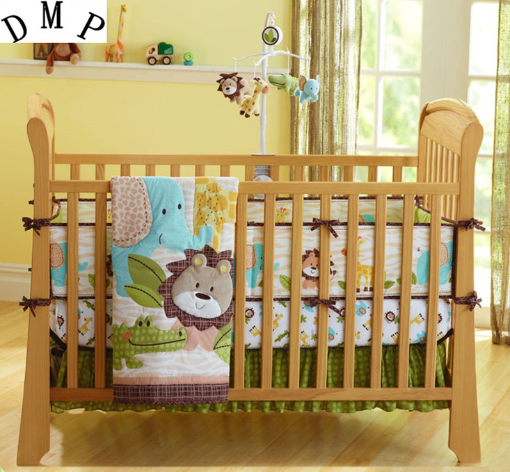 bumper+duvet+bed Cover+bed Skirt Promotion 7pcs Embroidered Cartoon Baby Bumper Infant Breathable Baby Bedding Set,include