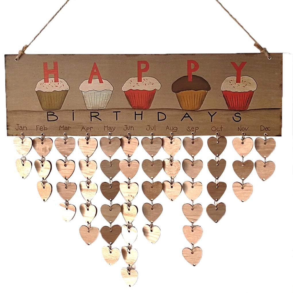 Colorful Happy Birthday Hanging DIY Wooden Calendar Kalendar Reminder Board Plaque Home Decor Pendant Tag цена 2017