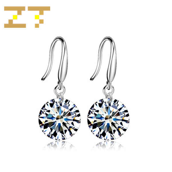 Hot Sale Cubic Zirconia Austrian Crystal Drop Earrings for Women Bride Wedding Jewelry High-grade Silver Plated Fashion Brincos