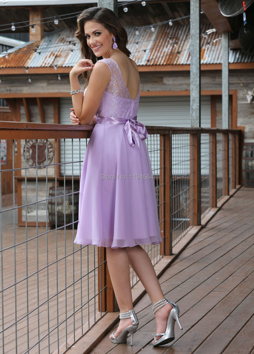 New Arrival 2017 Sheer Neck Chiffon Top Lace Bridesmaid Elegant Lilac For Wedding Guests Short Bb867 In From Weddings Events On