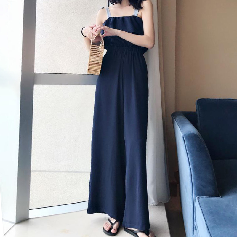 TWOTWINSTYLE Lace Up Jumpsuits Womens Off Shoulder Ruffles Tunic High Waist Maxi Wide Leg Pants Summer Fashion Holiday Clothing 14