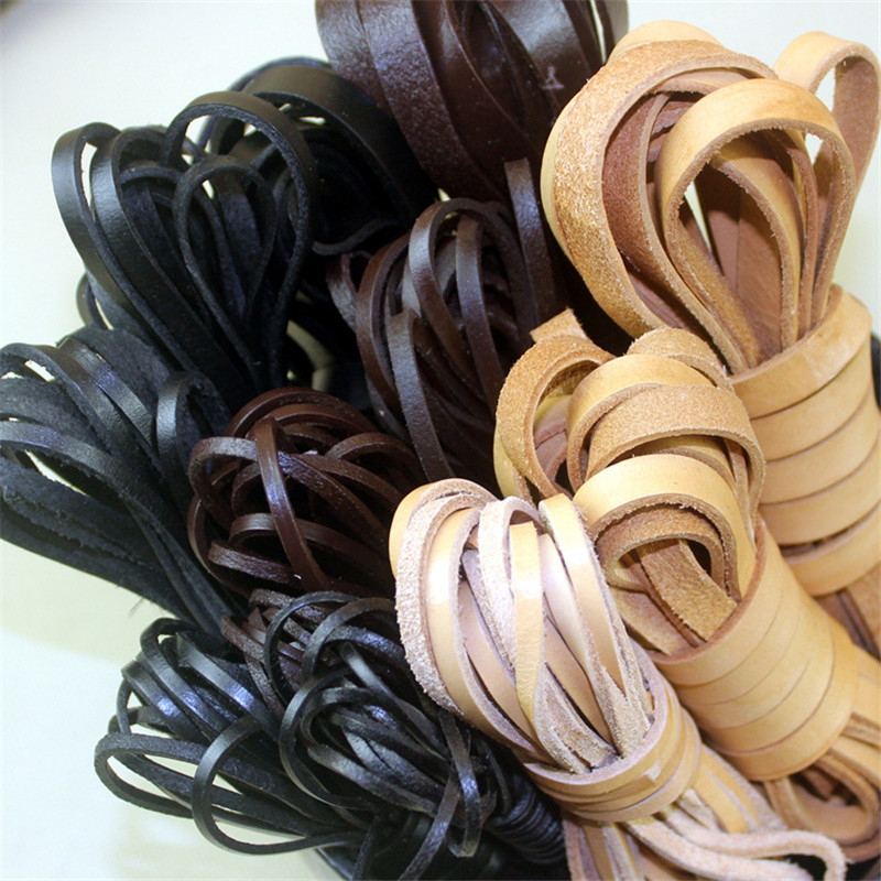 2m 2/3/4/5/6/8/10mm Width Flat Genuine Cow Leather Cord Bracelet Necklace Findings Leather Rope String DIY Jewelry Accessories
