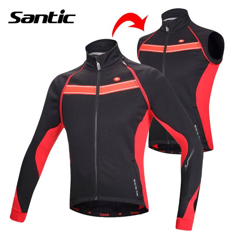 SANTIC Windproof Cycling Jacket Men Winter Fleece Thermal Removable Sleeve Bike Bicycle Jacket Coat Cycling Vest Ropa Ciclismo santic men s cycling hooded jerseys rainproof waterproof bicycle bike rain coat raincoat with removable hat for outdoor riding