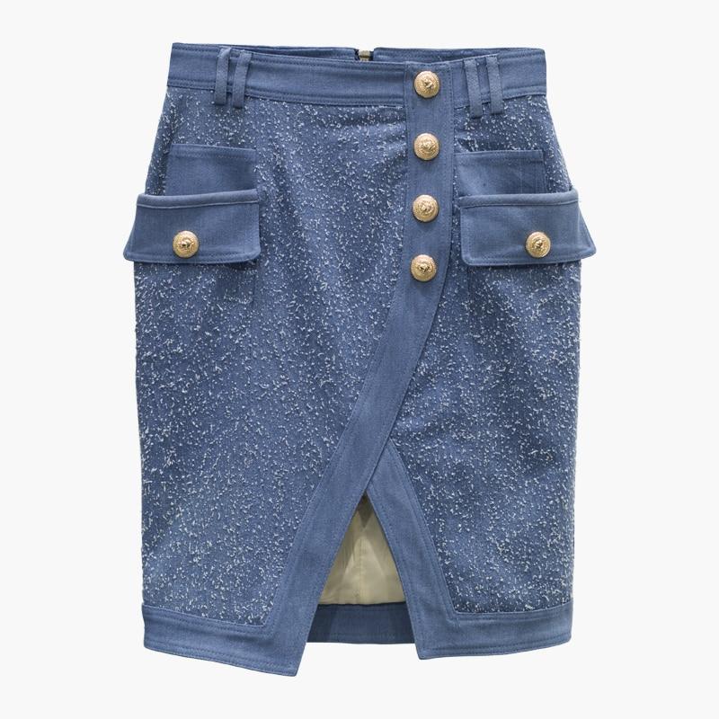 HIGH QUALITY New Stylish 2019 Designer Skirt Women's Metal Lion Buttons Denim Skirt