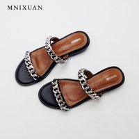 Home Slippers Womens Summer 2017 Fashion New Beach Sandals Genuine Leather Open Toe Nice Flats Ladies