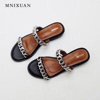 Zapatillas de casa de verano de las mujeres 2017 de la manera nuevas sandalias de playa genuino niza de cuero del dedo del pie abierto pisos ladies casual diapositivas negro tamaño 4