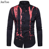 Spring Autumn Features Print Shirts Men Black White Crack Pattern Casual Male Shirt Long Sleeve Casual