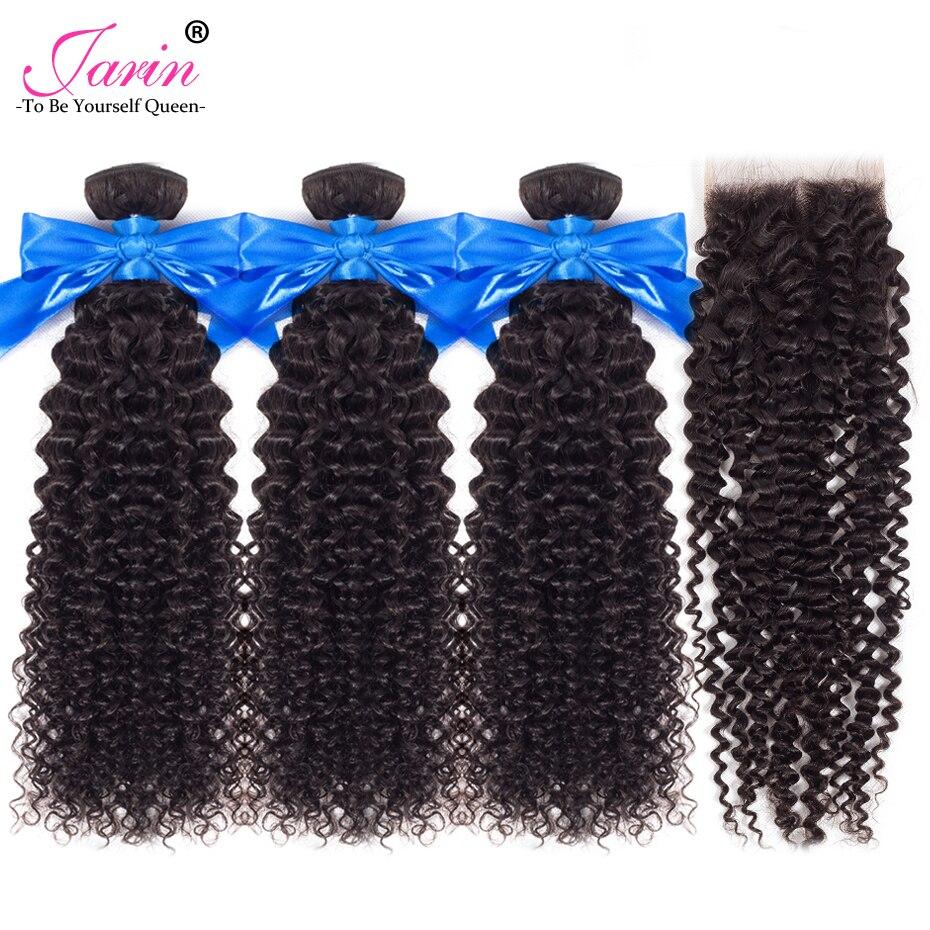 JARIN Peruvian Kinky Curly Hair Weave 3 Bundles With Closure Human Hair Weaving With 4 4 JARIN Peruvian Kinky Curly Hair Weave 3 Bundles With Closure Human Hair Weaving With 4*4 Lace Closure Top Remy Peruvian Hair