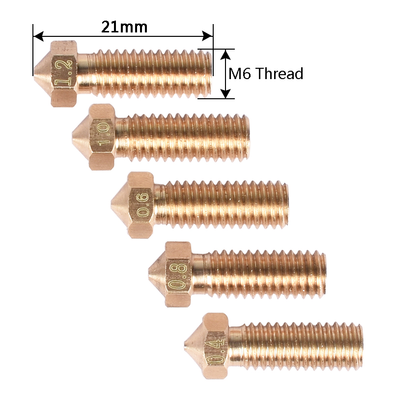 5PCS 3D Printer Brass Volcano Nozzle M6 Extruder Nozzle 0.4/0.6/0.8/1.0/1.2mm For 1.75/3mm Filament For 3D Printer Parts