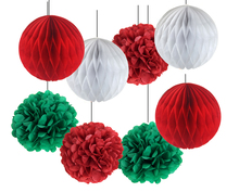8pcs White Red Green Birthday Wedding Party Decorations Honeycomb Balls/Tissue Paper Pom Home Decoration Accessories