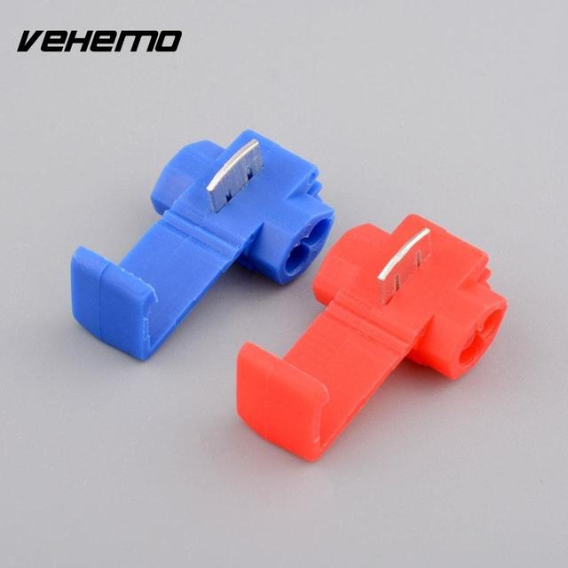 Vehemo Useful 50Pcs Red Blue Snap On Connector Crimp Wire Splicer ...