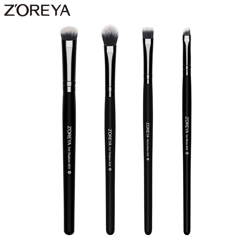 ZOREYA Brand 4 piece/lots Lady Makeup Eye Shadow brush Eyeliner make up brush for beauty cosmetics tools with Eye brow brush аксессуар think tank eye piece for canon ep20 наглазник