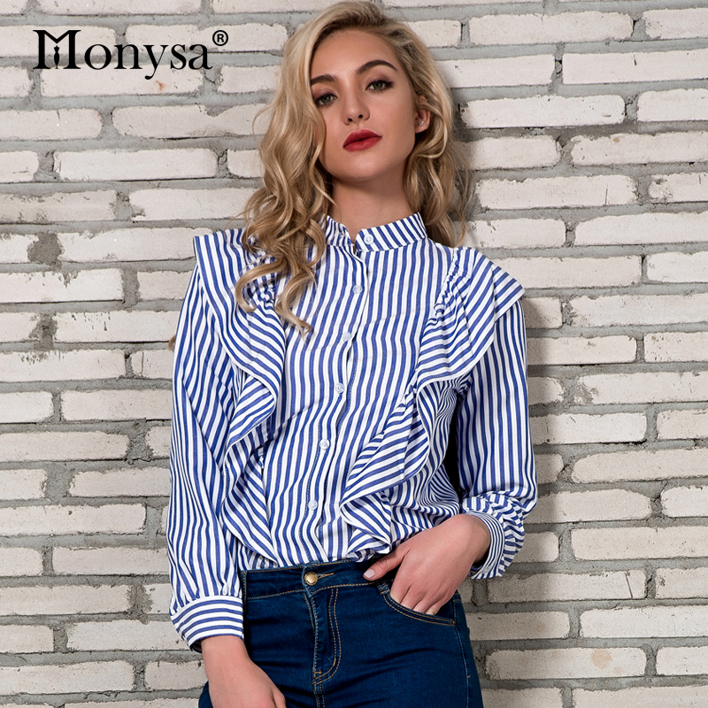 ab5ea00238b9d Women Striped Shirts Spring 2018 New Arrivals Fashion Ruffle Striped Long  Sleeve Blouses Ladies Casual Streetwear Tops Womens-in Blouses   Shirts  from ...