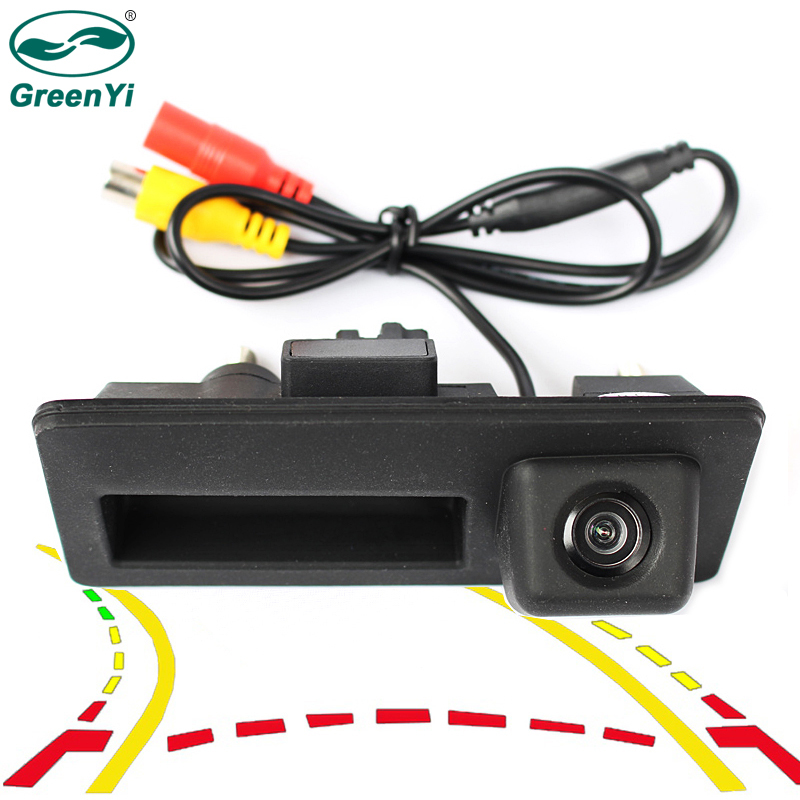GreenYi Car Trunk Handle Rear View HD <font><b>Camera</b></font> for <font><b>Audi</b></font> <font><b>A4</b></font> A5 S5 Q3 Q5 VW Tiguan with Trajectory Guide Line image