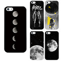 Soft TPU PC cover For Iphone 5 5SE 6 6PLUS 7 plus back cover man climb the moon in the Milky Way painted clear case