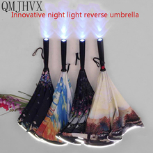 Best selling 2018 products Innovative Gifts LED Umbrella Reverse Windproof Fold Car reverse rain Women