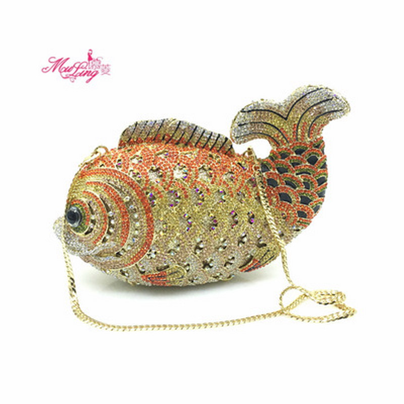 Fish Crystal Casual Clutch Evening Bags Women Diamond Day Clutches Rhinestones Wedding Bag Handbags Gold Color Purse Gifts Box стоимость