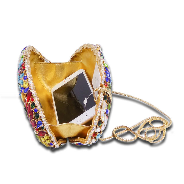Exquisite Women Hollow Out Silver Clear Crystal Evening Purse Metal Clutches Bag Bridal Wedding Cocktail Party Handbag Clutch