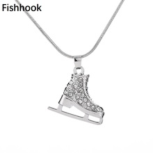 Fishhook High quality 3D Ice skate charm necklace pave crystals white enamel bijoux women jewelry