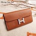 Sheng lun lai сумки-шопперы для женщин кошелек из натуральной кожи 2019 женский модный длинный кошелек женский кошелек для монет карта сумка для де...