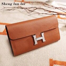 Sheng lun lai сумки-шопперы для женщин натуральная кожа кошелек 2019 женский модный длинный кошелек женский кошелек для монет карта сумка для денег...