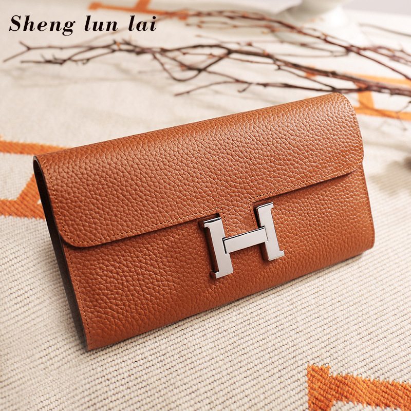 Sheng lun lai Tote Bags For Women Genuine Leather Wallet 2018 Women Fashion Long Wallet Women Coin Purse Card Holders