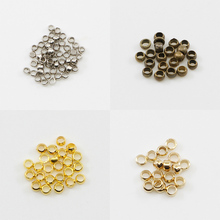500pcs/lot 2/2.5/3 mm Silver Gold Antique Bronze Ball Plunger Bead Smooth Crimps Beads For Jewelry Making Finding Accessory