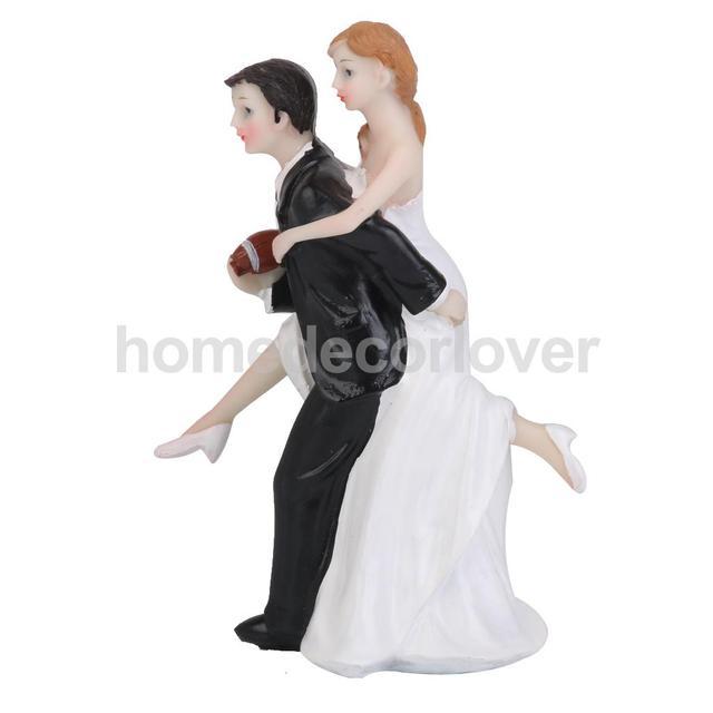 Football Lover Wedding Cake Topper Bride Groom Couple Figurine Sports Funny
