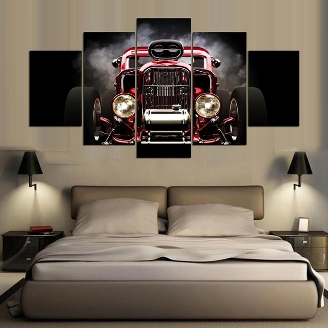 5 Pieces Printed Hot Rod Red Front View Wheels Paintings Wall Art Canvas Modular Living Room Bedroom Home Decoration Id 70