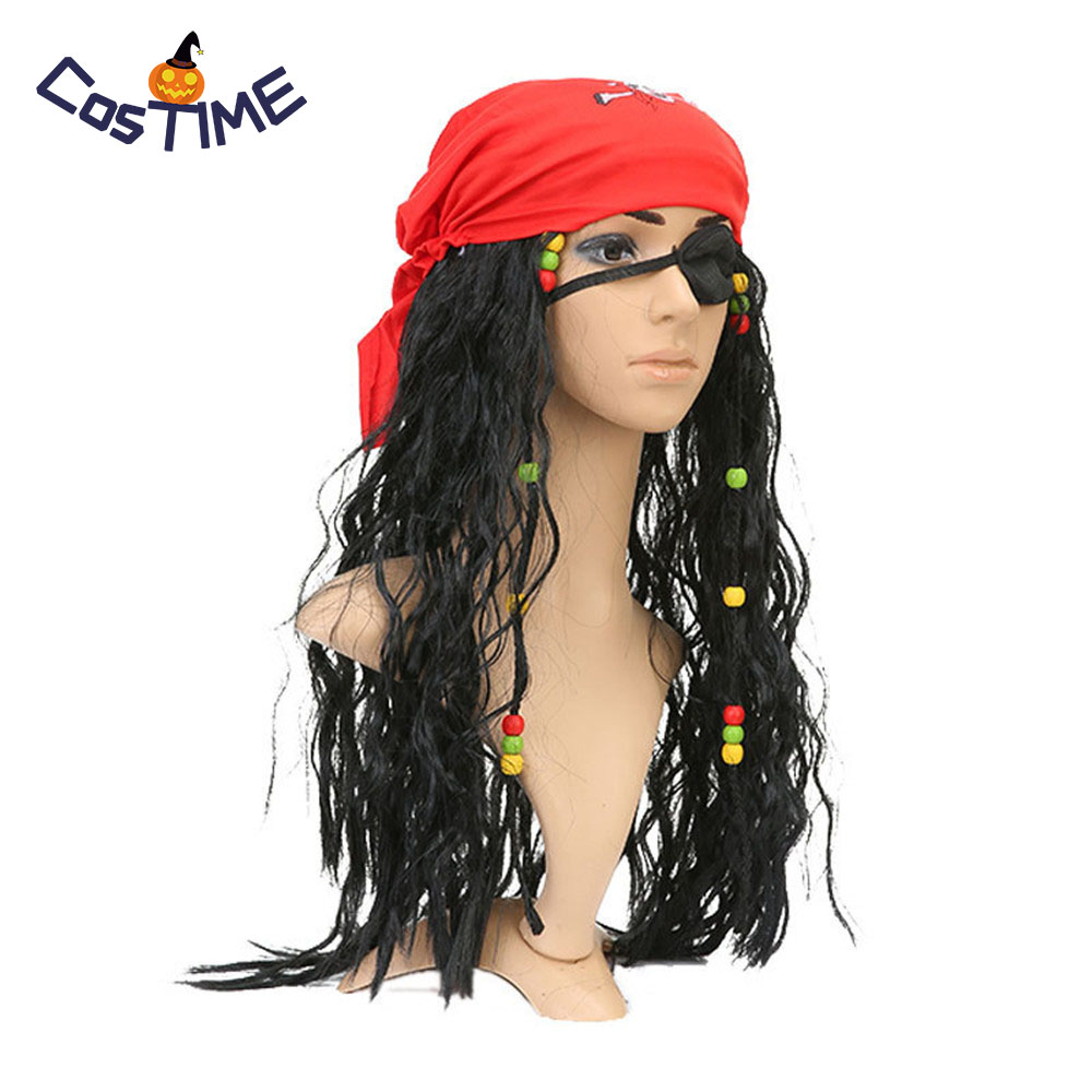 Caribbean Pirates Jack Sparrow Cosplay Wig Mask Adult Captain Pirate Headscarf Accessories Sets For Halloween Fancy Dress