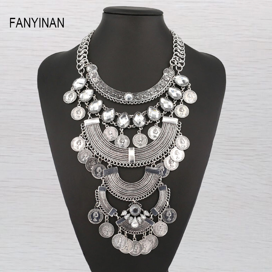 Hot Sale Brand Design Western Style Multilaye Antique Silver Plated National Style Necklace
