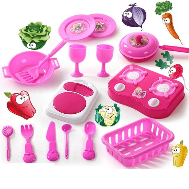 Attirant Plastic Play House Toys Plastic Kitchen Toy Kitchen Utensils Pretend Toys