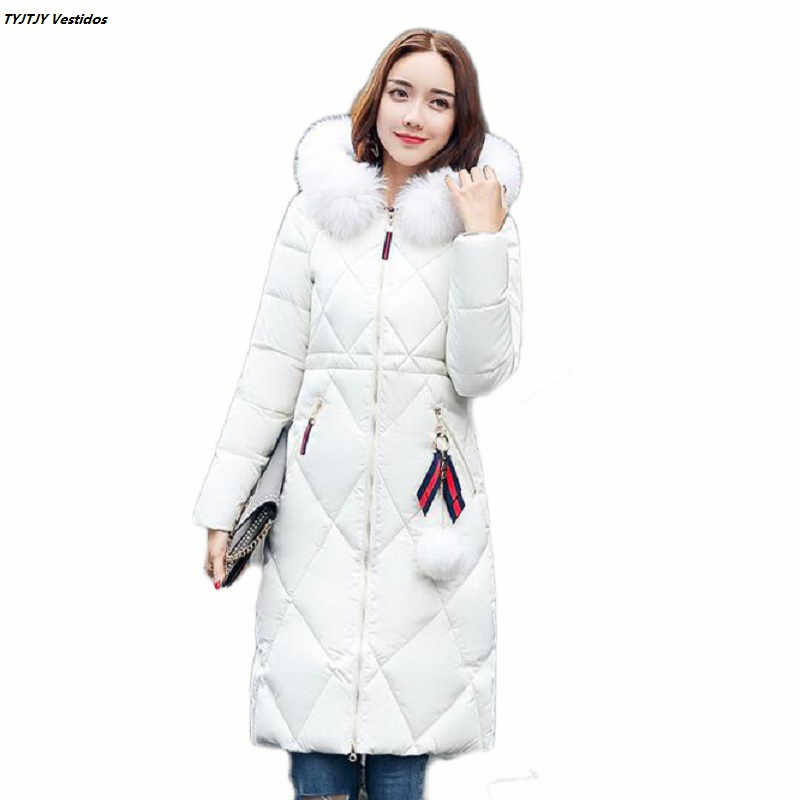 Women's winter jackets 2017 new large bristles thick plus long paragraph duck down jacket women cotton hood Korean coat coat цены онлайн