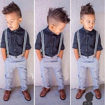 2020 new money Boy cotton long sleeved pendant shirt pants trousers suit Children's gentry suit 2 3 4 5 6 years old Cool 2 pcs 1