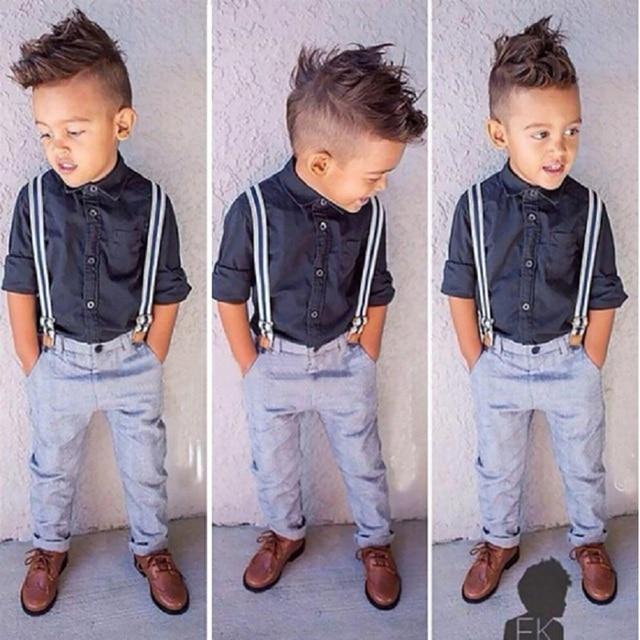 CCS229 summer kids clothes suit hot selling boys 2 pcs suit shirt+overalls childrens clothing set retail