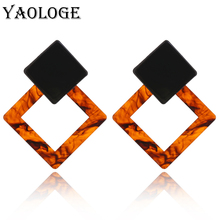 YAOLOGE Square Leopard Acrylic Stud Earrings Simple Geometric Vintage Statement Jewelry Bohemian Style For Women New