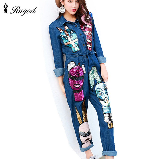 4397ec1280a1 New Arrival 2018 Jumpsuits Jeans European Style Women Jumpsuit Cartoon  Sequins Denim Overalls Long Sleeve Rompers Girls Pants