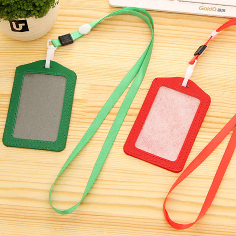 PU Leather Neck Strap Card Bus ID holders candy colors Identity badge with lanyard Credit Card Holders women men