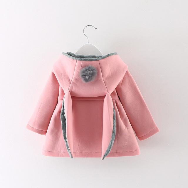 Niñas bebés capa de la chaqueta del oído de conejo con capucha infantil otoño invierno abrigos jakcets de rosa/rojo/gris abrigos ropa de niños ropa de bebé
