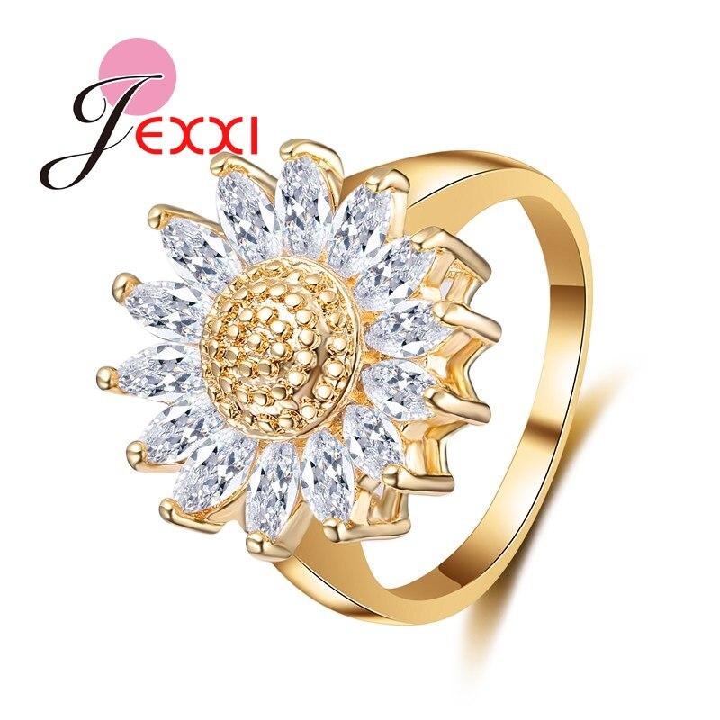 PATICO подсолнечное белый прозрачный кубический цирконий Кристалл Для женщин Обещание Кольца Аксессуары золота Цвет кольцо Юбилей Обручение