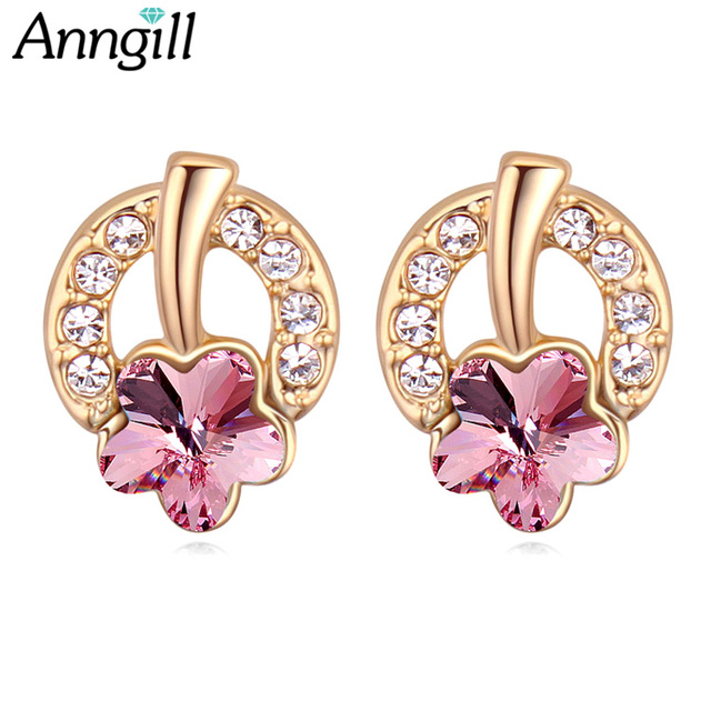 ANNGILL Flower Stud Earring For Women Crystals from Swarovski Lovely  Earrings Fashion Anti-Allergic Orecchini ca50704f7